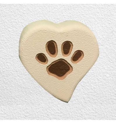 Lapide per cane o gatto da parete modello cuore con orma - MyPeterPan