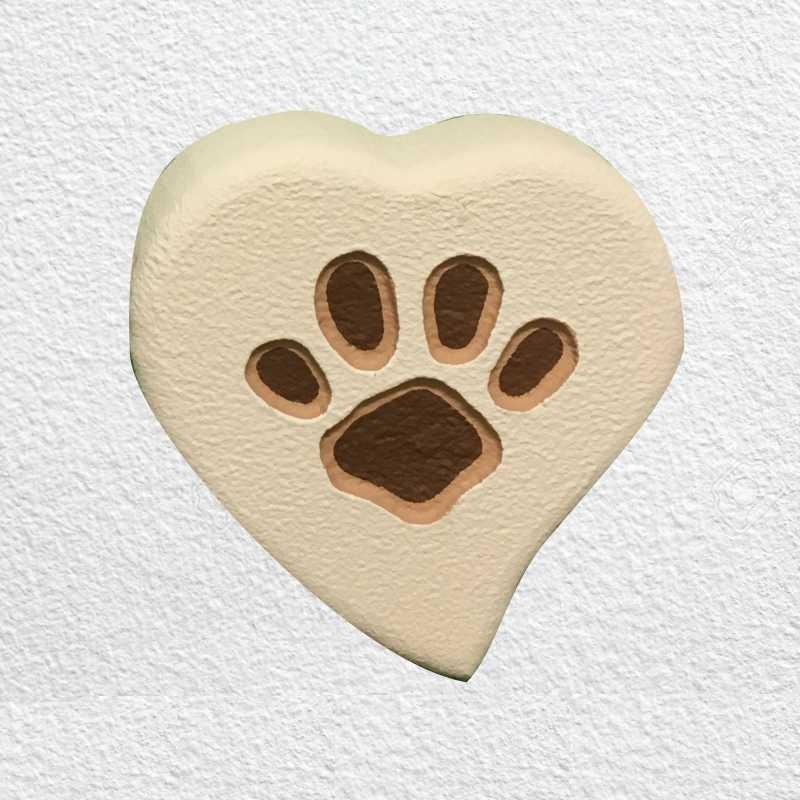 Lapide per cane o gatto da parete modello cuore con orma